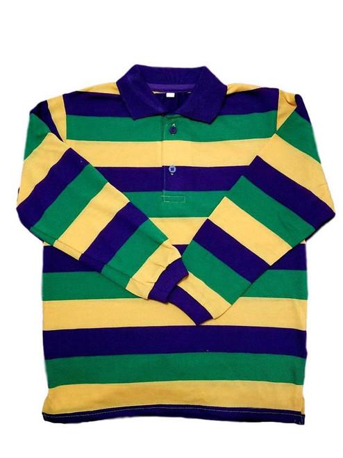 Adult Medium Mardi Gras Rugby Classic Stripe Purple Green Yellow Long Sleeve Shirt