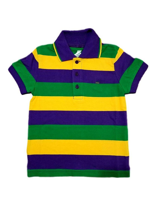 Child Large Mardi Gras Classic Stripe Purple Green Yellow Knit SS Polo Shirt