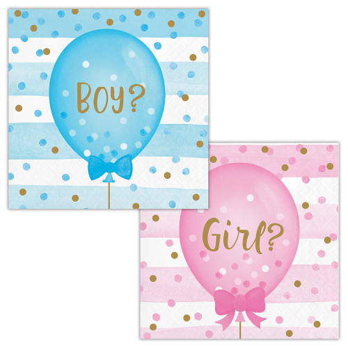 Gender Reveal Balloons Party Boy Girl 2 sided 16 Ct Beverage Napkins