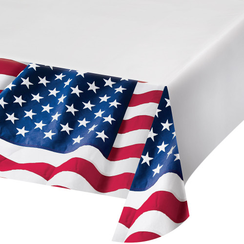 Patriotic Flag Tablecover Plastic 54 x 102 July 4th Stars Stripes