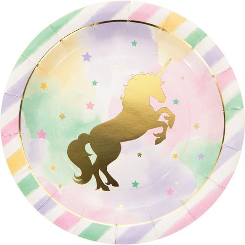 Unicorn Sparkle 8 Ct Dinner Plates 8.75 inch Foil Stamp