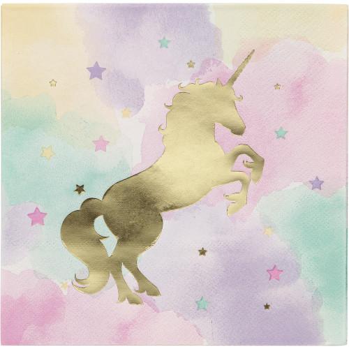 Unicorn Sparkle 16 Ct Luncheon Napkins Foil Stamp 3 Ply