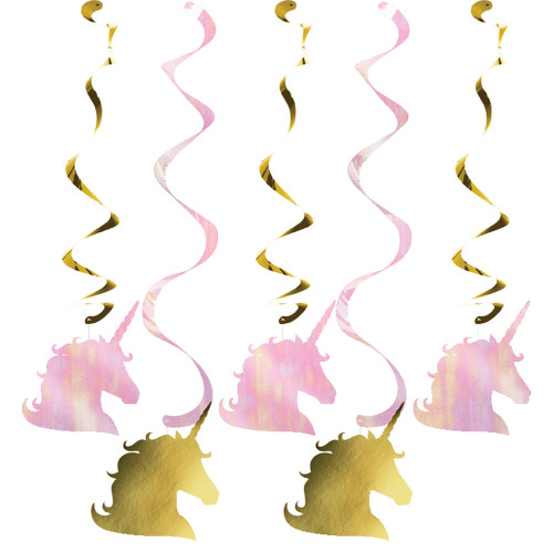 Unicorn Sparkle 5 Ct Foil Dizzy Danglers Pink and Gold