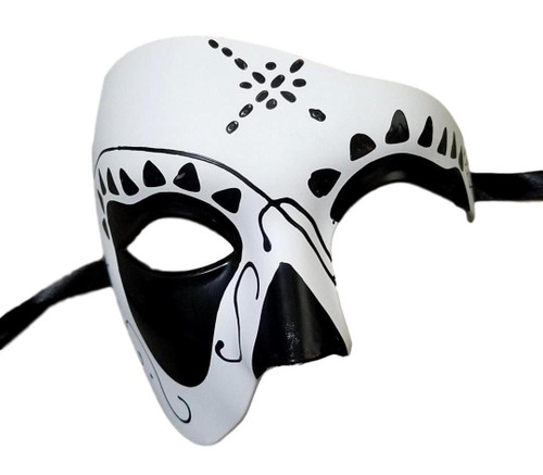 Men's Phantom Black White Day of the Dead Large Mardi Gras Masquerade Halloween Mask