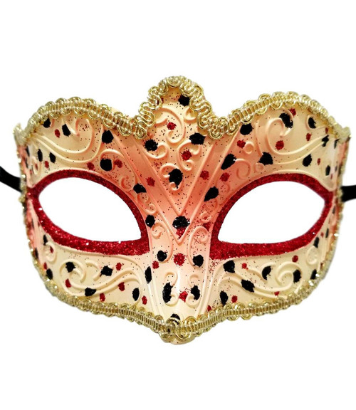 Red White Gold Small Venetian Mask Masquerade Mardi Gras