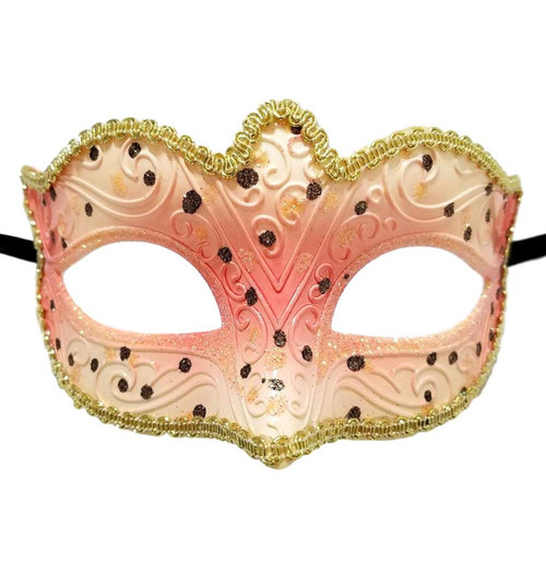 Pink White Small Venetian Mask Masquerade Mardi Gras