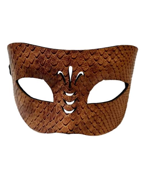 Snake Skin Pattern Brown Leather Venetian Masquerade Prom Mask