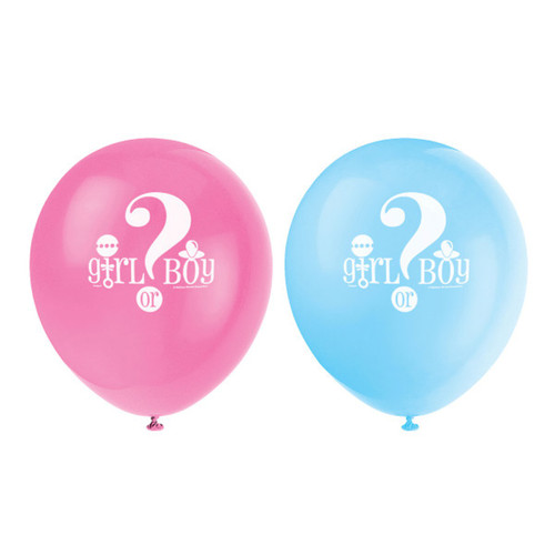 """Gender Reveal Baby Shower 8 Ct 12"""" Latex Balloons"""