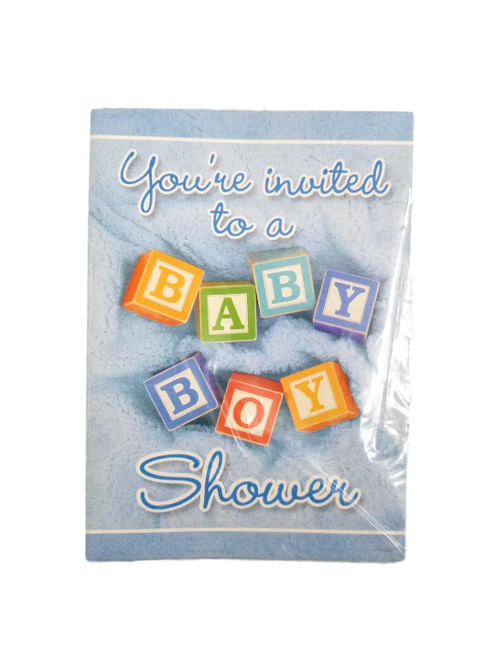 Blue Baby Boy Blocks Baby Shower 8 Ct Invitations with Envelopes