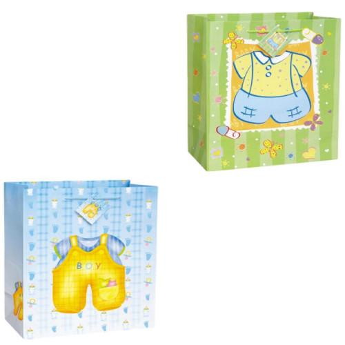 Baby Boy Shower Jumbo Glossy 2 pc Gift Bag Assortment 18 x 13