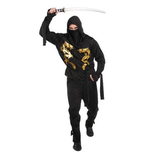 Black Dragon Ninja Costume Mens Adult Plus 48 - 52