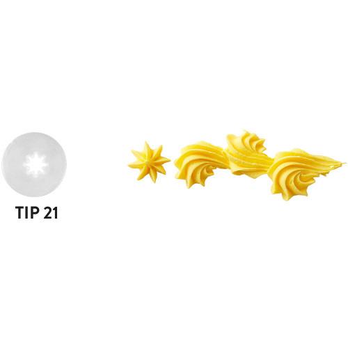 Wilton Disposable Tip Set 4 Tips # 21 Open Star Plastic