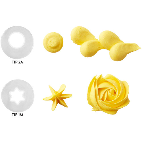Wilton Disposable Tip Set 2 Large Tips # 2A Round 1M Open Star Plastic