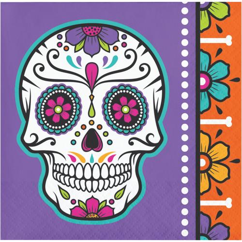 Day of the Dead Skull 16 Ct Halloween Beverage Napkins