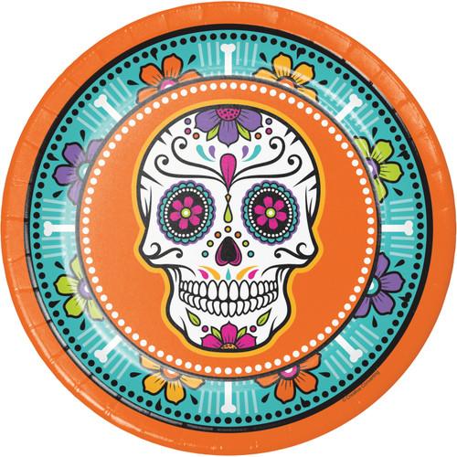 "Day of the Dead Skulls 8 Ct 9"" Halloween Dinner Plates"