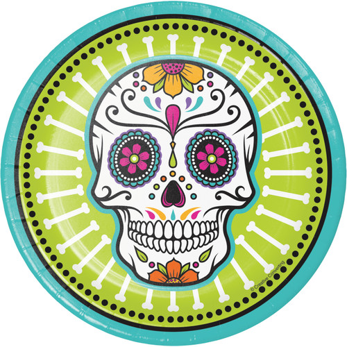 "Day of the Dead Skulls 8 Ct 7"" Halloween Dessert Cake Plates"