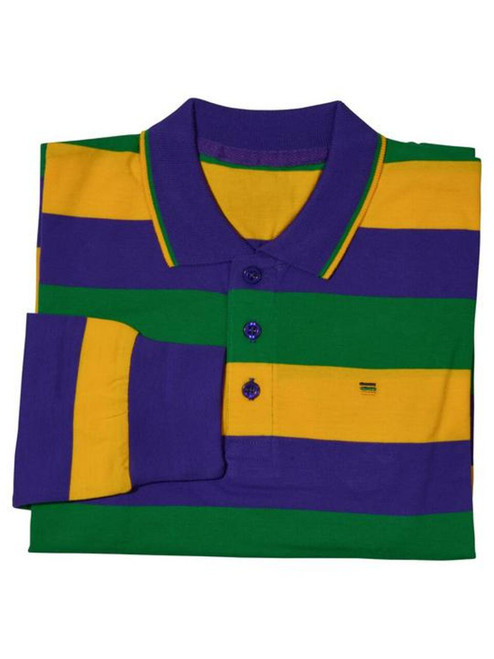 Child Medium Classic Mardi Gras Stripe PGG Long Sleeve Polo Shirt
