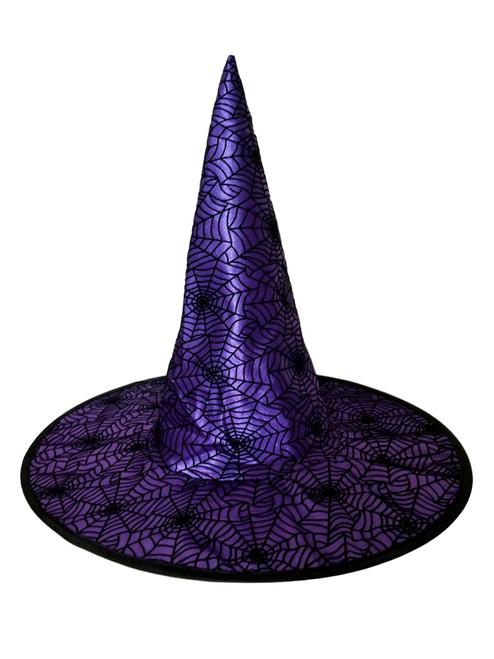 Spiderweb Purple Black Halloween Witch Hat 18 in