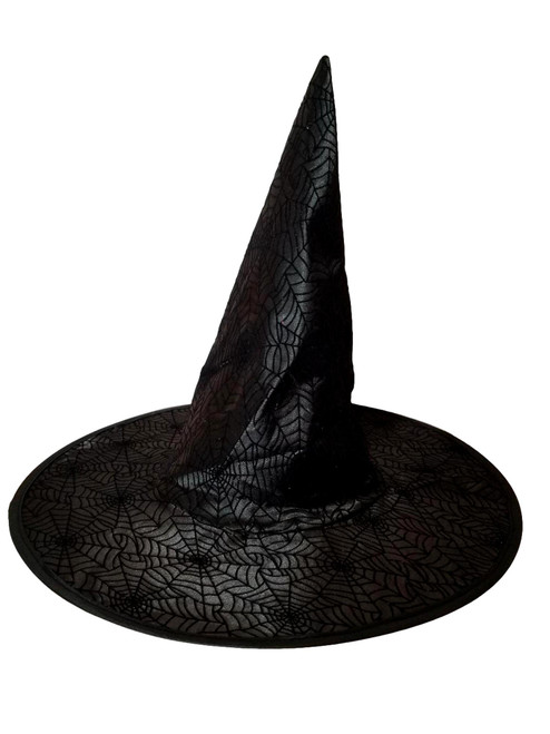 Black Spiderweb Halloween Witch Hat 18 in