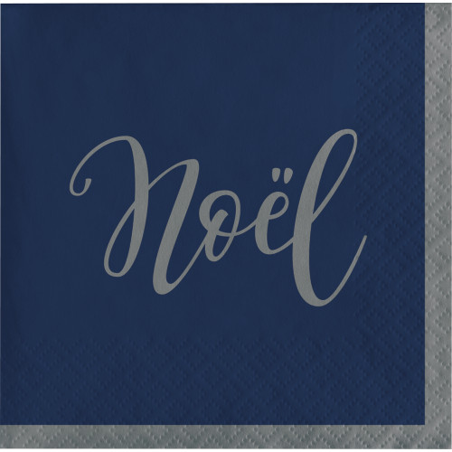 "Silent Night ""Noel"" Beverage Cocktail Napkins 16 Ct Navy Silver"