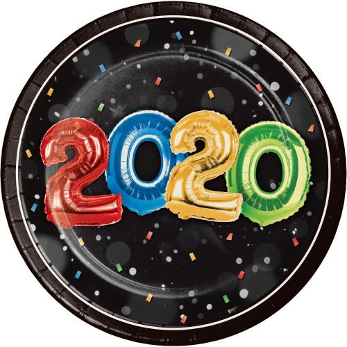 "2020 New Years Eve Balloons 8 Ct 7"" Dessert Cake Plates"