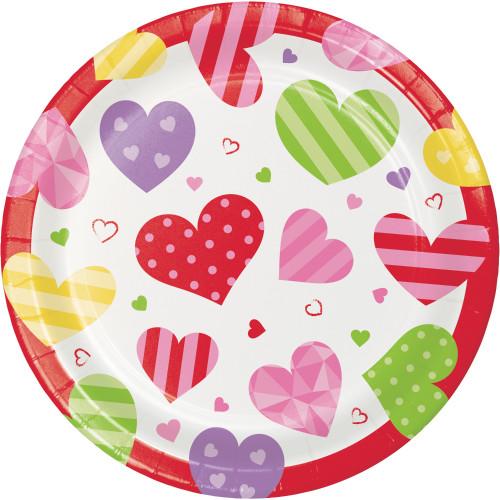 "Valentine Hearts 8 Ct 7"" Cake Dessert Plates"