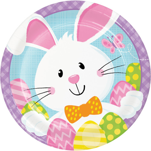 """Easter Bunny Business 8 Ct Dessert Cake 7"""" Paper Plates"""