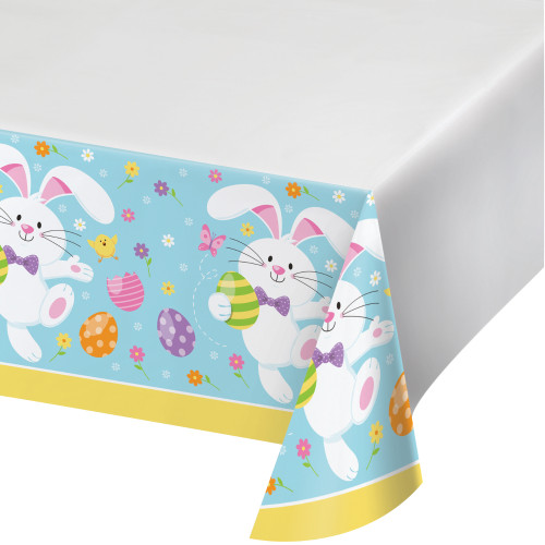 Easter Bunny Plastic Border Print Tablecover 54 x 102