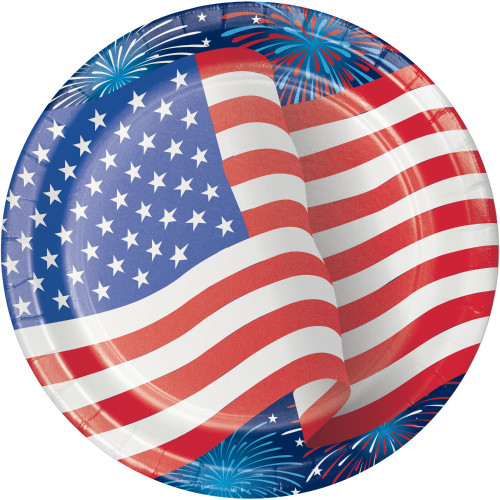 Patriotic Flag Fireworks 9 inch Luncheon Plates 8 ct 4th July