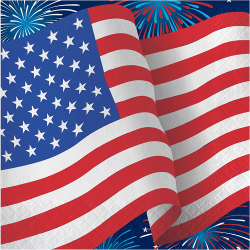 Patriotic Flag Fireworks 16 ct Luncheon Napkins 4th July