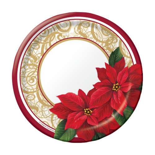 """Poinsettia Lace 8 ct 7"""" Dessert Cake Plates Christmas Party"""