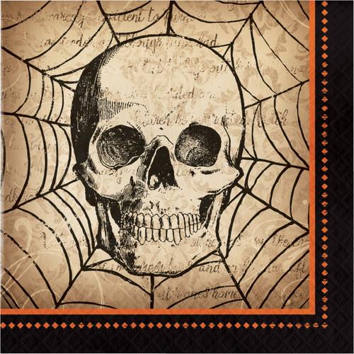 Spooky Skull 16 ct Luncheon Napkins Halloween Spider Webs