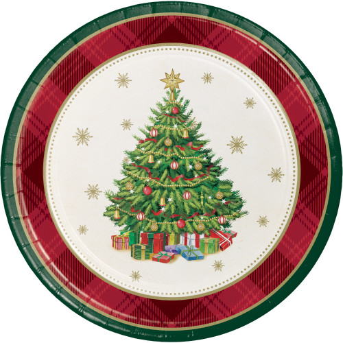 "Tree Traditions 8 Ct 7"" Dessert Cake Plates Christmas Holiday"