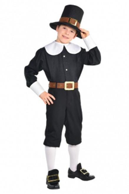 Pilgrim Boy Costume Thanksgiving Kids Dress Up Set Standard 8-10