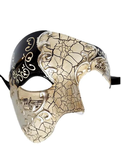 Men's Phantom Music Black Silver Large Mardi Gras Masquerade Elegance Mask