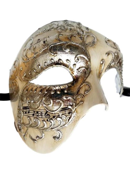 Men's Phantom White Silver Music Large Masquerade Elegance Mask