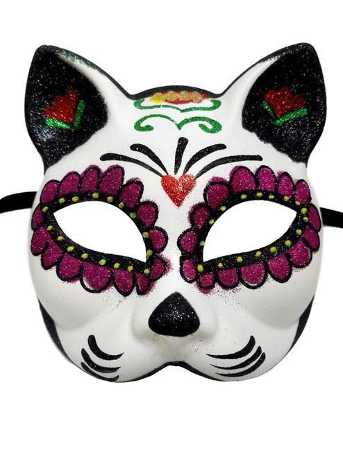 Sugar Skull Cat Flower Masquerade Mardi Gras Halloween Mask