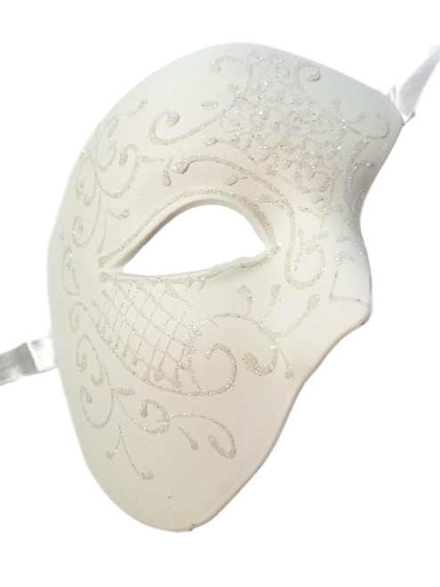White Phantom of The Opera Costume Masquerade Mardi Gras Party Mask