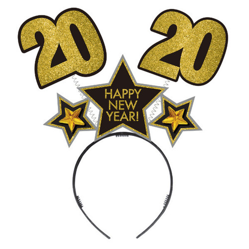 2020 New Years Eve Stars Head Bopper HeadBopper Headband Black Silver Gold