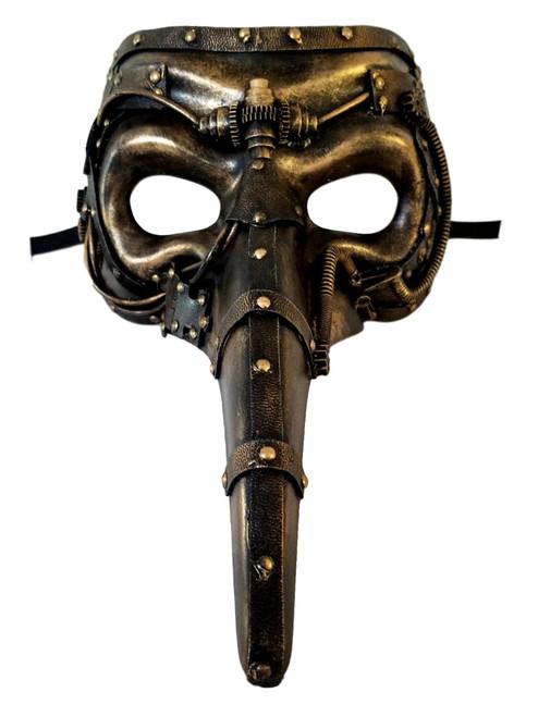Steampunk Gold Long Nose Masquerade Mardi Gras Men's Mask
