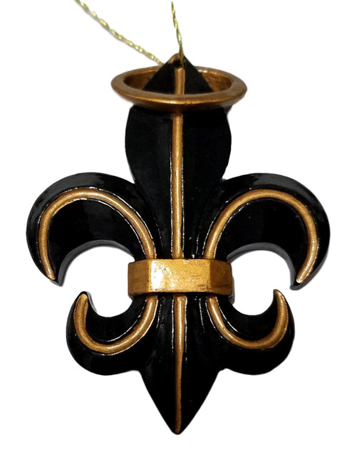 Black Gold Halo Fleur De Lis New Orleans Christmas Ornament Party Favor