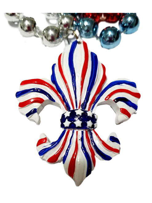 Red Blue White Fleur De Lis Stars Stripes Mardi Gras Beads Necklace Party Favor