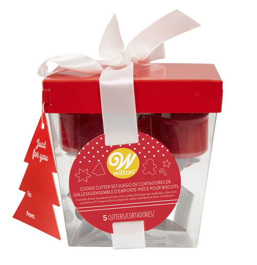Wilton Metal 5 Pc Cookie Cutter Set Christmas Gift Set Box Red White