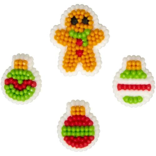 Gingerbread Man Ornaments Christmas Dot Matrix Icing Decorations 24 Ct Wilton