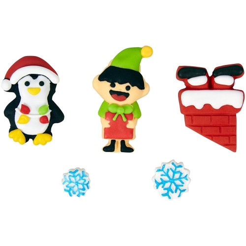 Santa and Helpers 7 pc Icing Candy Decorations Wilton