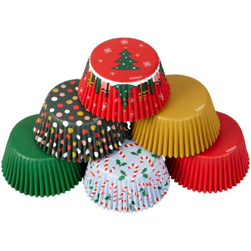 Christmas Traditional 150 ct Baking Cups Cupcake Liners Wilton Tree Candy Canes