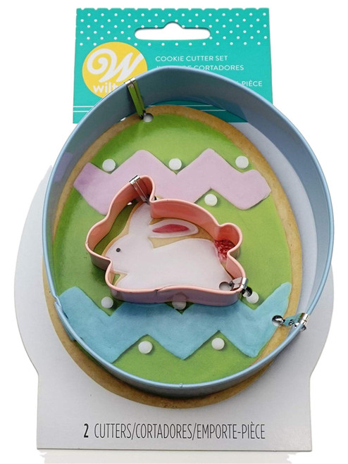 Wilton Easter Egg and Mini Bunny 2 pc Metal Cookie Cutter Set