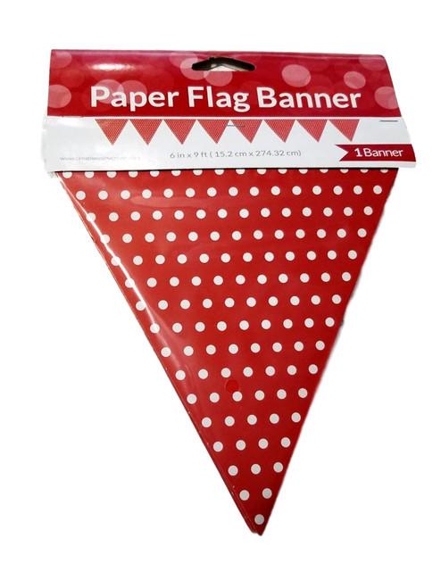 Red with White Polka Dot Paper Flag Pendant Banner 6 x 9 feet