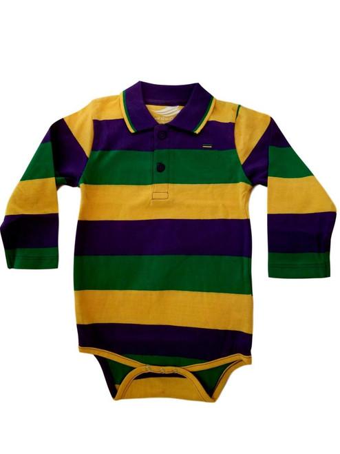 Mardi Gras Purple Green Yellow 3/6 Mth Baby Infant Long Sleeve Romper