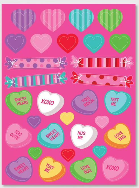 Candy Hearts Valentines Day Stickers on 3 Sheets 93 total
